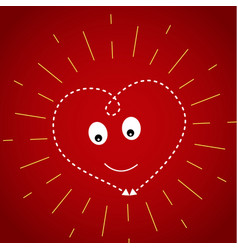 heart on a dark red background in the yellow rays vector image