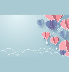 hearts shaped balloons flying in sky paper art vector image