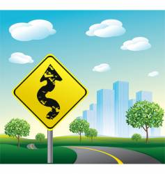 Highway road to cityscape vector