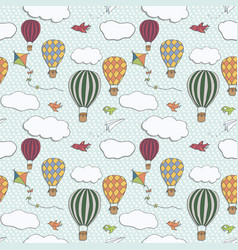 Hot air baloons hand drawn pattern vector