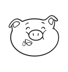 Hungry emoticon icon emoji pig for coloring book vector