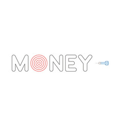 icon concept of money word with bulls eye and vector image