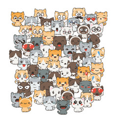 ilustration with cats and dogs for design of vector image