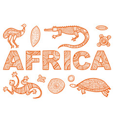 Inscription africa in ethnic style and vector