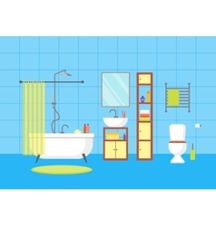 Interior Classic Bathroom with Furniture vector