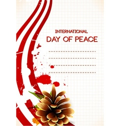 International Day of Peace with pine cone vector