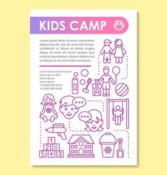 Kids children summer camp brochure template vector