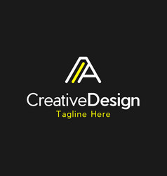 Letter a line creative business logo vector