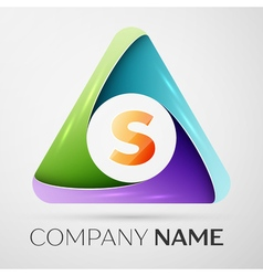 Letter S logo symbol in the colorful triangle vector