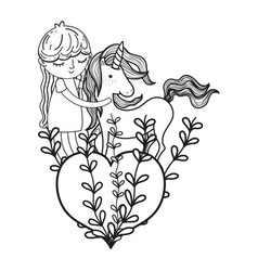Line nice girl with unicorn and heart with vector