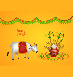 llustration of indian festival pongal background vector image