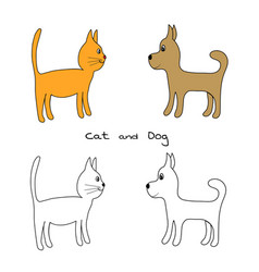 lovely white cat and dog color kitty and puppy vector image