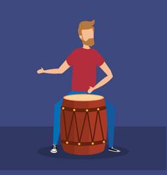 Man playing bongo tropical instrument vector