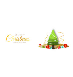 merry christmas horizontal banner decorative vector image