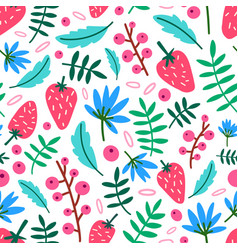 Motley seamless pattern with summer strawberries vector