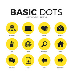 Network flat icons set vector