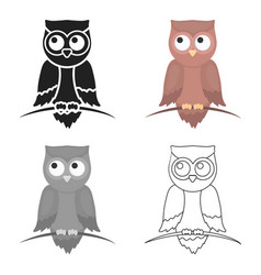 Owl icon cartoon singe animal icon from the big vector
