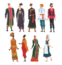 People in national lothing set male and female vector
