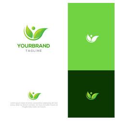 people with modern leaf logo design vector image