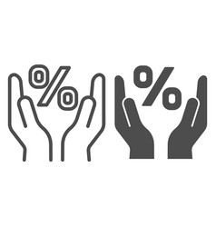 percent sign in hands line and glyph icon vector image