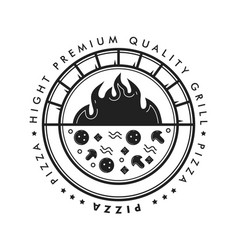 pizza grill circle badge logo with hot brick oven vector image