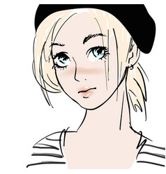 portrait young sailor girl hand drawn vector image