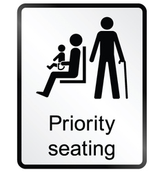Priority seating Information Sign vector