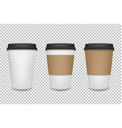 Realistic 3d paper coffee cup icon set vector