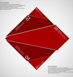 Rectangle infographic template divided to five red vector