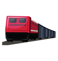 red and deep grey front view of transport train vector image