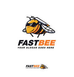 Rocket bee cartoon mascot logo icon template vector