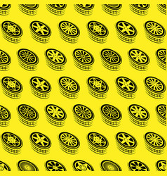 seamless yellow wheel outline background vector image
