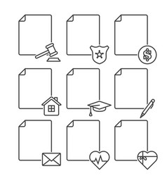 Set of blank documents icons for various services vector