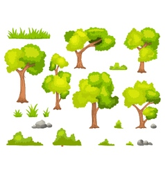 Set of cartoon green plant and tree vector image