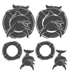 Set of dolphin design element vector image