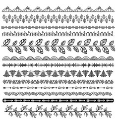 set of doodle borders vector image