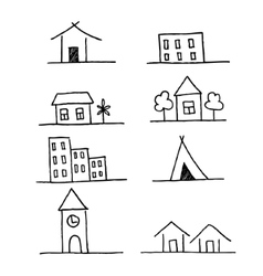 Set of homes icons grunge brush strokes vector