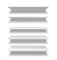 shelves white empty clear store or library vector image