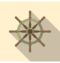 Ship Helm Flat Icon vector image