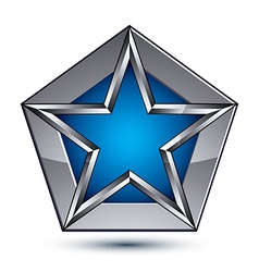 Silvery blazon with pentagonal blue star can be vector