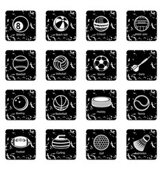 Sport balls equipment icons set grunge vector