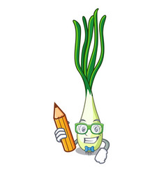 Student cartoon fresh green onions on cutting vector