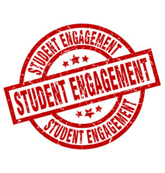 student engagement round red grunge stamp vector image