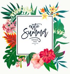 Summer natural vintage exotic greeting card vector