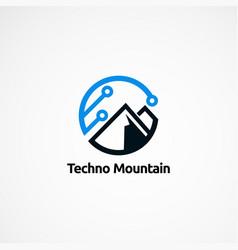 Techno mountain logo designs icon element and vector