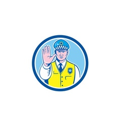 Traffic Policeman Hand Stop Sign Circle Cartoon vector image
