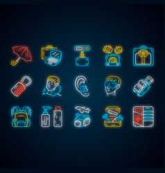 Travel accessories neon light icons set luggage vector