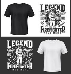 tshirt print with firefighter in uniform gas mask vector image