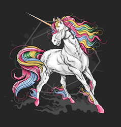 unicorn full color rainbow hair vector image