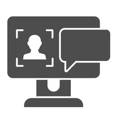 User on computer monitor solid icon authorization vector